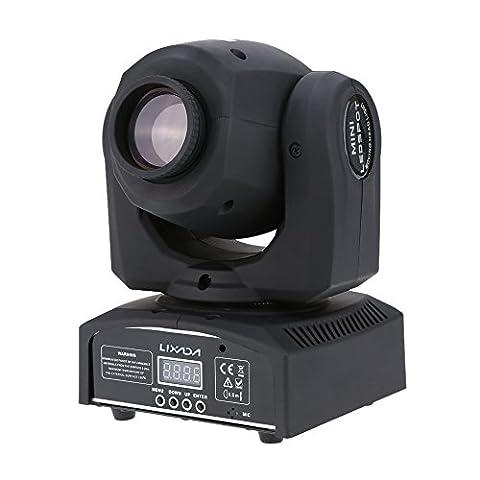 Lixada DMX-512 RGBW Éclairage de scène Tête rotative LED PAR Formes Automatique 9/11 Canaux 25W Commande Vocale LED Éclairage de Scène Lampe Lumière d'ambiance pour Disco KTV Club Fête Intérieure