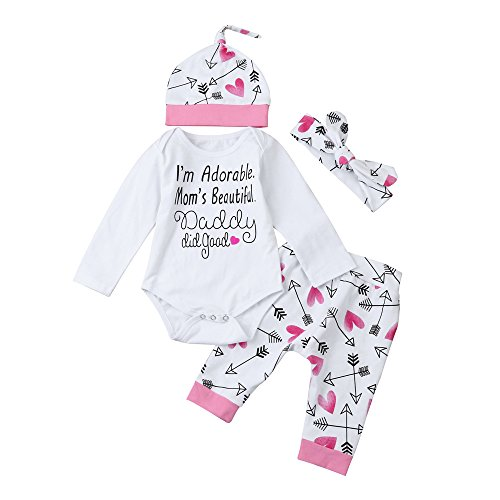 Chicolife Nette neugeborenes Kind Kleinkind Baby Jungen Lustiger Buchstabe Pfeil Strampler Overall + Pants + Stirnband Outfits Kleidung stellten (Lustige Kleinkind-kleidung)