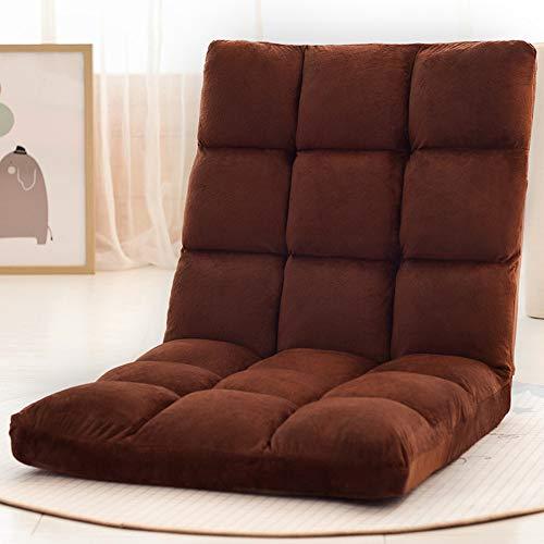 Braun Lagerung Couch (PLLXY Boden Klappbar Sofa Sessel Verstellbar 10-ungültige Anforderung,Tatami Sitzsack Atmungsaktive,bodenstuhl Gesteppter Couch Liege Gepolsterte Rückenstütze-braun-a)