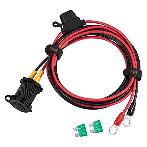 YCIND - Kit fai da te per presa accendisigari femmina, fusibile resistente 30 A, cavo 12 V/24 V, 12 AWG, 0,9 m, 1,8 m, 3 m, 3 m, per auto, camion, barca, cam
