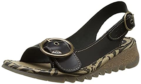 Fly London Damen TRAM723FLY Slingback Sandalen, Schwarz (Black 000), 39 EU