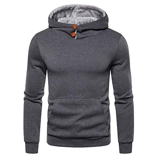 Fenverk Herren Sweatshirt Kapuzenpullover Langarmshirt Pullover Sweats Warm Atmungsaktiv Bequem Jacke Sweatjacke Kapuzenjacke Top Outwear Bluse(H Grau,XXXL)