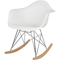 Elightry Chaise à Bascule Rocking Fauteuil Berçante Relaxant pour Salon Jardin Pieds bombés en Bois Massif