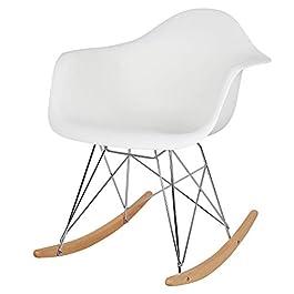 Elightry Fauteuil à Bascule siège en Plastique Chaise à Bascule Pieds en Acier Bois,Blanc