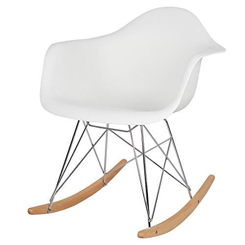 Elightry Schaukelstuhl SKS05ws Relaxstuhl Sessel Schaukelsessel Schwingsessel Kunststoff Stahl Holz Weiß - Moderner Kunststoff-stuhl