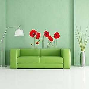 Walplus - Adesivi da parete a forma di papaveri rossi, staccabili, trasparenti
