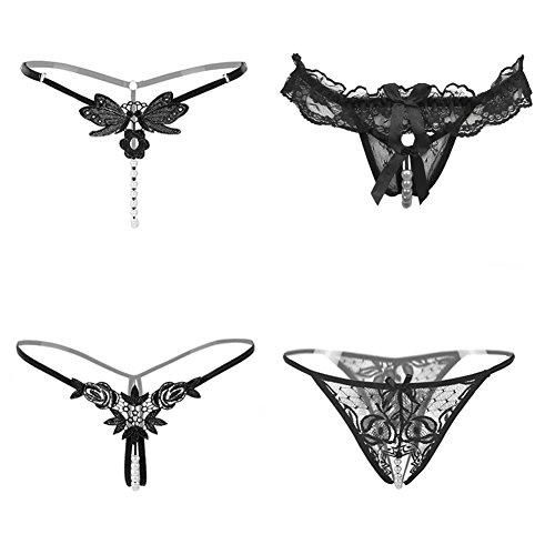 Nightaste Damen String aus Schwarze Spitze, T-Back mit Perlen (4 Muster/Paket)