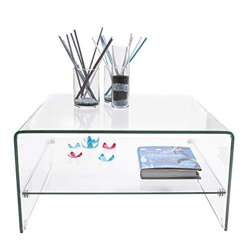 Mesa de Centro Ainara Homely 90x55 cm con revistero y Tapa de Cristal Ovalada