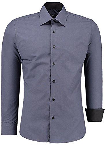 J'S FASHION Herren-Hemd – Slim Fit – Bügelleicht – Langarm-Hemd für Business Freizeit Hochzeit – Anthrazit - L