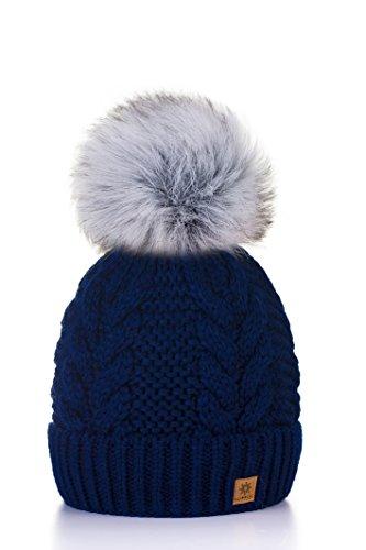 Wurm Winter Strickmütze Mütze Damen Kristalle Kiesel mit Große Bommel Pompon Fashion SKI MFAZ Morefaz Ltd (Nave Blue)