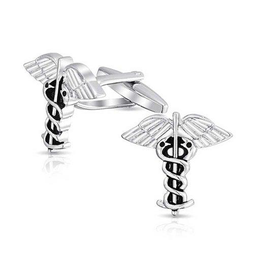 Bling Jewelry Caducée Insigne Médical Médecins Homme Chemise Boutons De Manchette Ton Argenté Cadeau en Acier Laiton Charnière