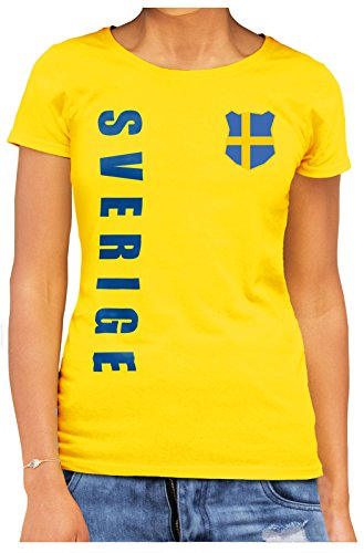 AkyTEX Schweden Sverige Damen Trikot Fanshirt T-Shirt WM 2018 Name Nummer (Gelb, XXL)