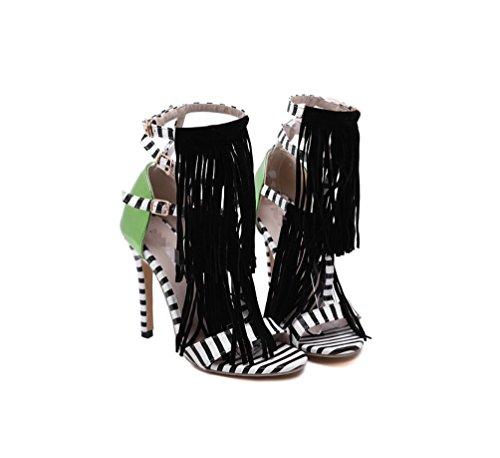 LIANGXIE Ladies Fine mit Super High Heel-stilvollen runden Kopf Sexy Strass Sandalen-Reine Farbe Cross Bandage Sandalen-Comfort Heel Schuh Zhhzz (Farbe : Schwarz, Größe : 39) - Lulu Womens Ankle Strap