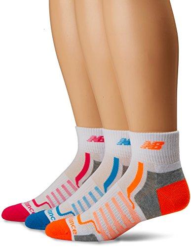 New Balance Damen Performance Ankle- 3 Pairs Socken, White/Grey/Blue/Pink/Orange, M - Gepolsterte Womens Athletische Socken