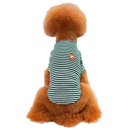 Yuncai Weich Streifen Haustier Hund Baumwolle T-Shirt Atmungsaktiv Hündchen Kleidung für Hunde Grün M