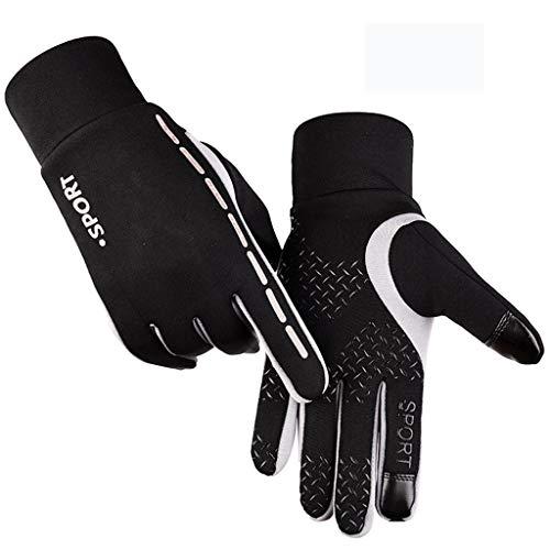 HYBKY Männer Und Frauen Kalte Sporthandschuhe Plus Samt Warmer Touchscreen rutschfeste Outdoor-Kletter-All-in-One-Reithandschuhe Handschuhe (Color : Gray, Size : L)