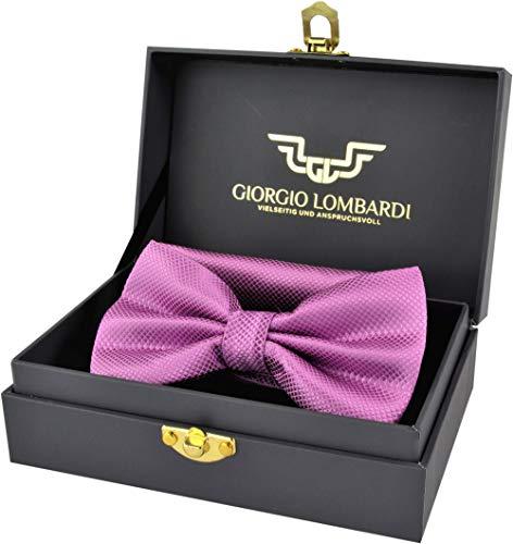 Giorgio Lombardi Herren Fliege Luxus bow tie mit passendem Einstecktuch - Fertig gebunden und verstellbar - Fliegen Set in edler Geschenkbox -