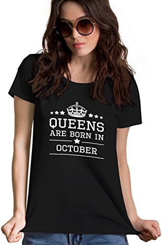 Queens Are Born In October Design1 Black T-Shirt | Birthday Gift For Women, Girls, Mother, Wife, Sister, Girlfriend, Her