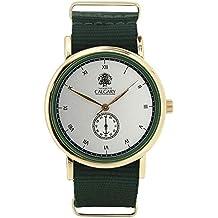 Relojes Calgary Wild Savannah. Reloj Vintage para Mujer y Hombre, Correa de Tela Verde