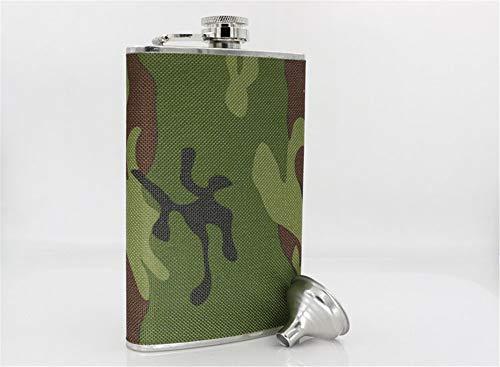 Lzhy Camouflage HIP Flask mit Trichter/für Shot - 8 Unzen Edelstahl - Als Hip-Trinkflasche oder Alkohol-Flachmann für Whisky, Wodka Brandy Rum, Geschenke für Männer