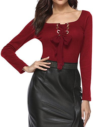 BLACKMYTH Femme Slim Fit Manches Longues Lace Up Tricot Chandail Cou U Top Rouge
