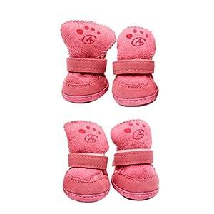 Gazechimp Chien Chiot Chat Chaussettes Antidérapants Chauffage pour Animaux de Compagnie Rose