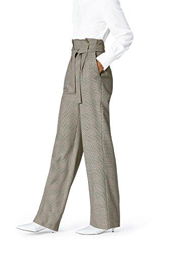 FIND Pantalón de Cuadros Estilo Sastre para Mujer , Multicolor (Check), 38 (Talla del Fabricante: Small)