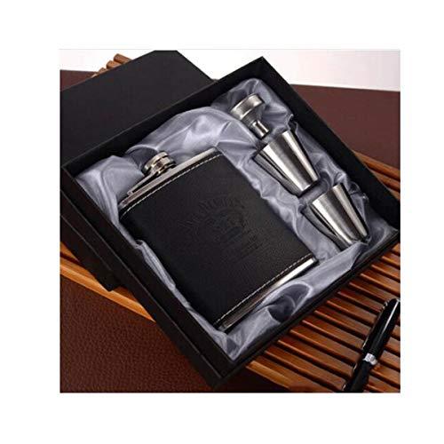CHUJIAN Borraccia, fiaschetta, fiaschetta in acciaio inossidabile, caraffa for bottiglia Shochu, caraffa for whisky da campeggio da esterno da 7 once, ca.200 ml, nero, marrone, il regalo perfetto