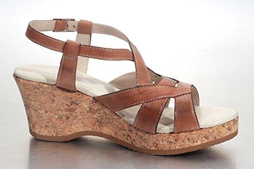 Marion Spath Damen 342-810 Glattleder Korkkeilsandale mit Plateau Braun
