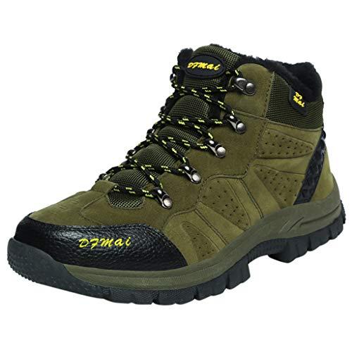 HDUFGJ Herren Trekking-& Wanderhalbschuhe Plus Samt Warm halten Outdoor-Schuhe Schneeschuhe Freizeitschuhe rutschfeste Verschleißfest Wasserdicht Leichtgewicht Turnschuhe 38 EU(Armee grün)