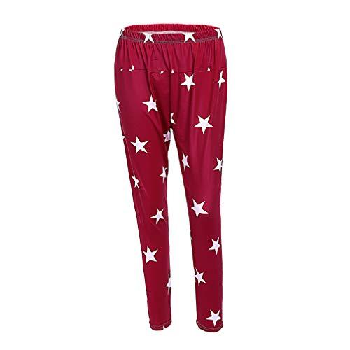 WEIMEITE Maternity Wear Leggings Stars Print Big Size Pregnant Women Leggings Trousers Modal Pants Wine Red XL