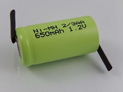 vhbw 2/3AA NI-MH Akku-Zelle 650mAh (1.2V) Z-Lötfahne für Modellbau, Solarleuchten, Telefon, etc.