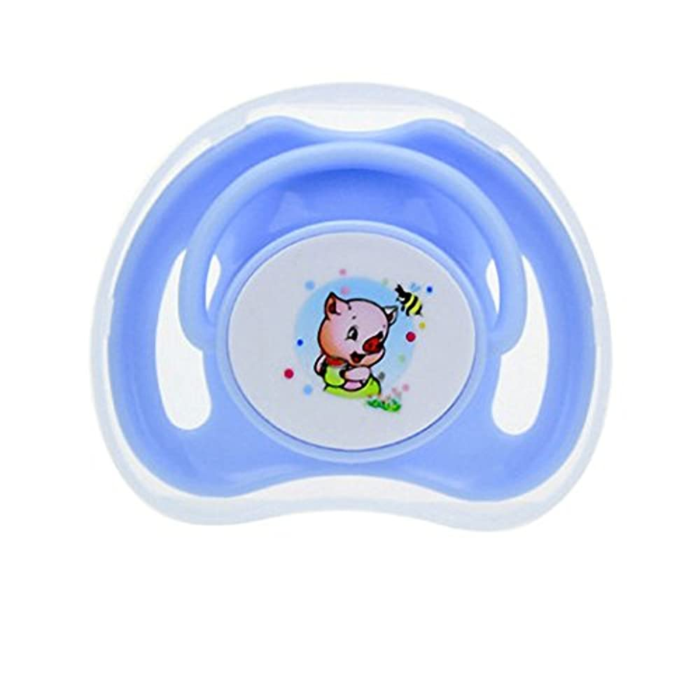 Dearmy 1 Stück Karikatur 0-24 Monate Baby Säugling 100% BPA-frei Essen Klasse Silikon Natürlich Gummi Schnuller mit Runden/ Eben Nippel Spielzeug Beruhigen und Komfort Schnuller (eben Blau)
