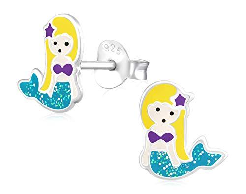 Laimons Mädchen Kids Kinder-Ohrstecker Ohrringe Kinderschmuck Meerjungfrau Seejungfrau Fischfrau Blau Lila Gelb mit Glitzer aus Sterling Silber 925