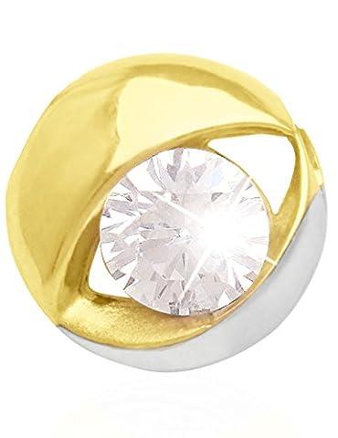 MyGold Damen-Anhänger (ohne Kette) Gelbgold Weißgold Weissgold 585 Gold (14 Karat) 1 Zirkonia Solitär bicolor Halskette Kettenanhänger Pan (9 Ct Goldringe)