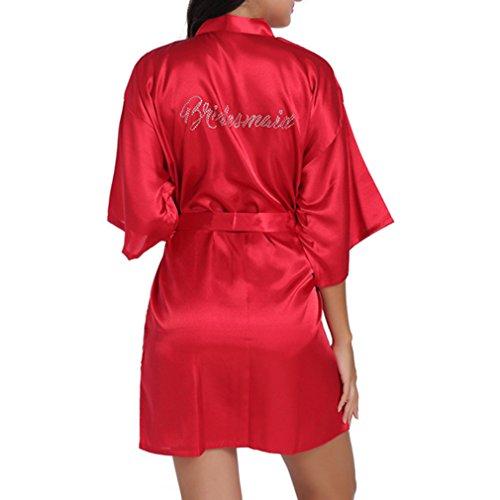 85553c61b07 Yying Satin Bridesmaid Rob Wedding Party Short Kimono Robe Silk Satin  Dressing Gowns for Wedding Gifts