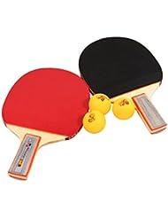 Tera Tabla Raqueta de Tenis Mesa de Ping Pong Raqueta Set 2x Raqueta de Tenis de Mesa y 3 Pelotas de Ping - Pong (Pelotas como Regalos)