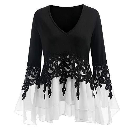 TWIFER Damen Applique Flowy Chiffon Sweatshirt V-Ausschnitt Langarm Bluse (Hippie Kostüm Applique Set)