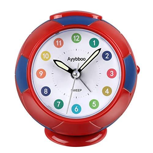 Ayybboo Reloj Despertador Analógico Niños, Despertador para Niños Silencio con Luz Sin Tictac Reloj...