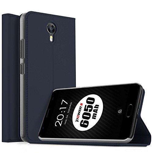Ulefone Power 2 Hülle, KuGi Ulefone Power 2 Flip Bookstyle Kompletter Schutz Mit Magnetverschluss und Standfunktion Tasche Etui Cover Case Schutzhülle für Ulefone Power 2 Smartphone (Blau)