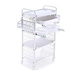 Trolleys 4-Tier-Salonwagen mit Schublade und Schüssel, Wagen für medizinische Laborgeräte – Weiß