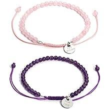 CrystalTears Bracelet en Énergie Pierre Semi-précieuse Perles de 4 mm Reiki Protection avec Petit Ronde Gravure Personnalisé Prénom Ajustable Unisexe Homme Femme