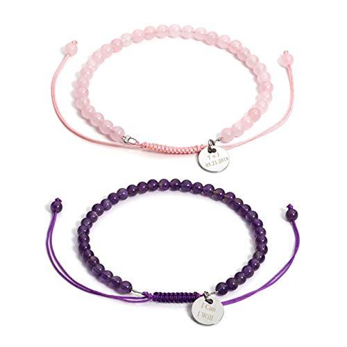 CrystalTears Bracelet en Énergie Pierre Semi-précieuse Perles de 4 mm Reiki Protection avec Petit Ronde Gravure Personnalisé Prénom Ajustable Unisexe Homme Femme (2pcs)
