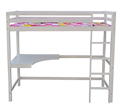 FoxHunter Childrens High Sleeper Cabin Wooden Frame Bunk Bed With Desk Kids Single 3FT White No Mattress New - cheap UK light shop.