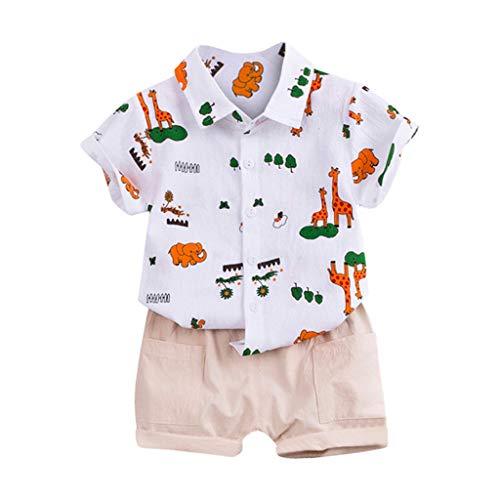 TTLOVE  2Pc Kleinkinder Jungen MäDchen Cartoon Tier Outfits Sets,Kleidung Baby Sommer Unisex Pyjamas Baumwolle Lose Kurze Freizeit Schlafanzug Bekleidung Kinderkleidung (Blau,80 cm,6-12 Monate)