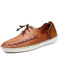 XUE Zapatos de Hombre de Cuero Primavera Verano Otoño Comfort Mocasines y Slip-Ons Zapatos de Paseo Casual Oficina y Trabajo Marrón Claro, Marrón Oscuro