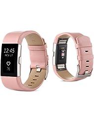 Hunpta Sport Watch Band Echtlederarmband für Fitbit Charge 2 Handgelenk Band Armband