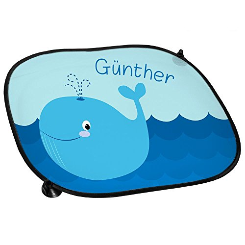 Preisvergleich Produktbild Auto-Sonnenschutz mit Namen Günther und schönem Motiv mit Wal für Jungen | Auto-Blendschutz | Sonnenblende | Sichtschutz