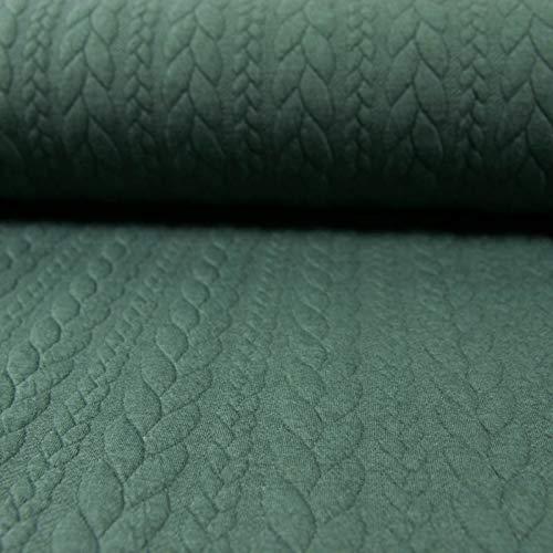 Jacquard Jersey Zopfstrick tannengrün Modestoffe Strickstoffe Winterstoffe - Preis Gilt für 0,5 Meter