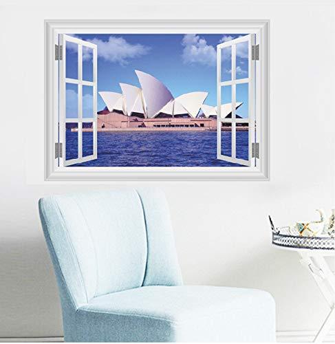 (LQWE 50X70cm Sydney Opera Hous 3D Gefälschte Fenster Wandaufkleber Wohnzimmer Schlafzimmer Dekoration Stadt Landschaft Wandbild Kunst Landschaft Home Decals)